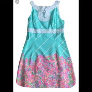 Lilly Pulitzer Aqua Floral Dress Size 8